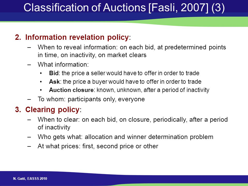 Classification of Auctions [Fasli, 2007] (3)